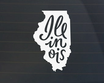 Illinois Car Decal - Illinois Decal - Illinois Sticker