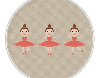Ballet dancer cross stitch pattern, Cute ballerina cross stitch pattern PDF, Instant Download, Free shipping, MCS080