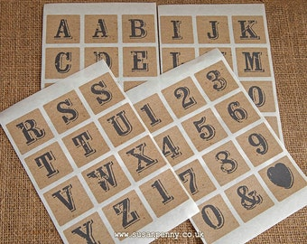 Number Stickers, Alphabet Sticker, Letter Stickers, Wedding Stickers, Gift Stickers, Vintage Stamp Stickers 40mm (1 1/2in) square -  PSS081