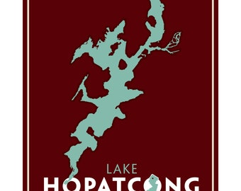Lake Hopatcong, NJ Print - 'Silhouette'. (Can be custom named with your lake).
