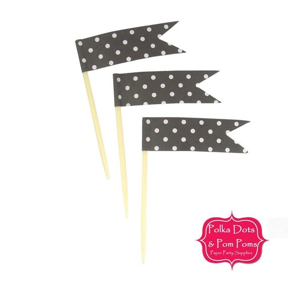 24 Black Polka Dot Cupcake Toppers Food Flags Birthday Party