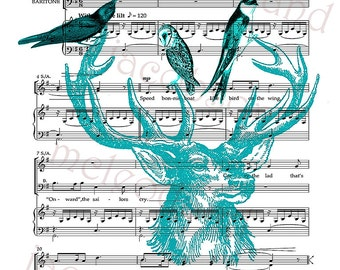Scotland instant download 8.5 x 11 deer head antlers owl swallow digital print Skye boat song music turquoise black wall art home decor