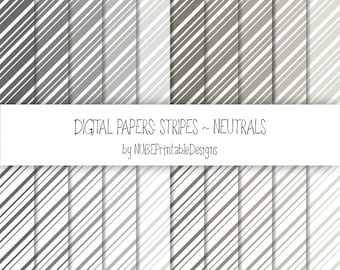 Stripes ~ Neutrals: Grays and Browns ~ Scrapbook Digital Papers 12x12; Striped Seamless Patterns; Scrapbooking; Lines; INSTANT DOWNLOAD