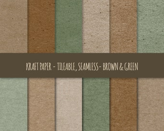 Kraft Digital Paper ~ Brown & Green Kraft Paper Tileable ~ Kraft Paper Texture, Seamless Pattern ~ Cardboard Paper Texture Background