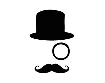 Tophat Monocle Mustache Custom Die Cut Vinyl Decal Sticker - Choose your Color and Size