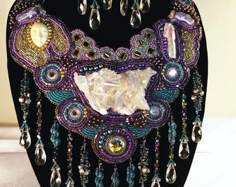 "Bead Embroidery Collar and Earrings ""The Crystal Goddess"""