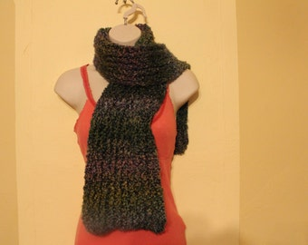 Multicolored handknit long scarf