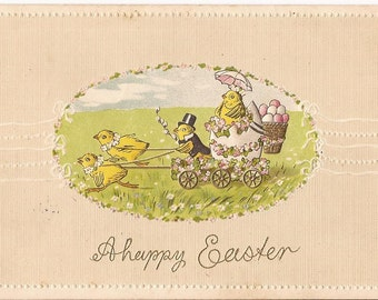 """Old Easter postcard, embossed, with chicks and Easter eggs, """"A Happy Easter"""", printed in Germany, never posted"""