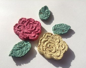Wild flower seeded rose and leaf shapes for planting, seed bombs