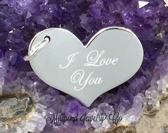 I Love You Heart Charm, I Love You Pendant, Sterling Silver Charm, Sterling Silver Pendant, Heart Charm, PS1448