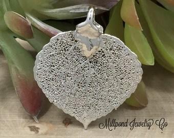 Aspen Leaf Pendant, Silver Aspen Leaf Pendant, Silver Aspen Leaf, Leaf Pendant, Nature Pendant, PS2704