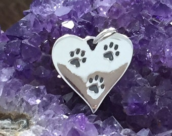 Heart Paw Print Charm, Paw Print Charm, Paw Print Pendant, Animal Lover Charm, Dog Lover, Sterling Silver Charm, PS01304