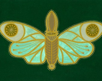 Green Bug #2: Small Green & Gold Art Deco Moth art print by Mary O'Malley