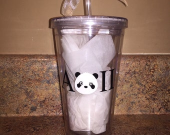 AOII Panda Tumbler with Name on Back