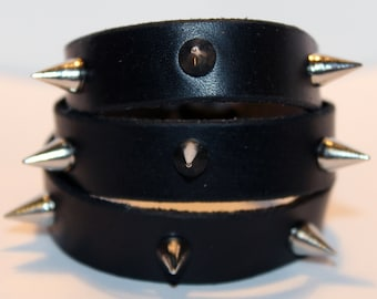 Black Handmade Leather Cuff With Cone Spikes! Nice gift! Made in Latvia! Unique item! Best gift!