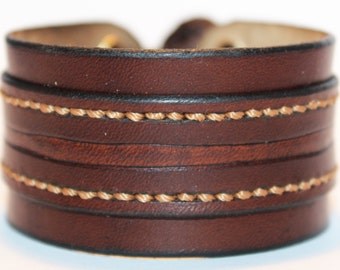 Brown Leather Cuff Bracelet! Nice gift for women! Made in Latvia! Handmade Brown leather Cuff! Unique item!
