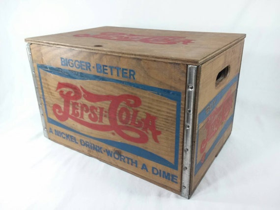 Vintage pepsi cola checkerboard wood crate with bottle cap for Wooden soda crate ideas