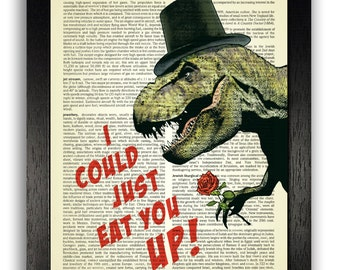I Could Just Eat You Up T Rex Art Print, Anniversary Gift for Boyfriend, Anniversary Present, Gifts for Men, Present for Man, Funny Poster