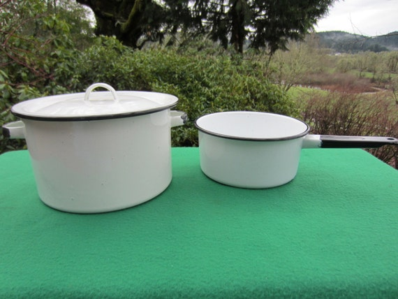 Vintage 3 Piece White With Black Trim Speckled Enamelware