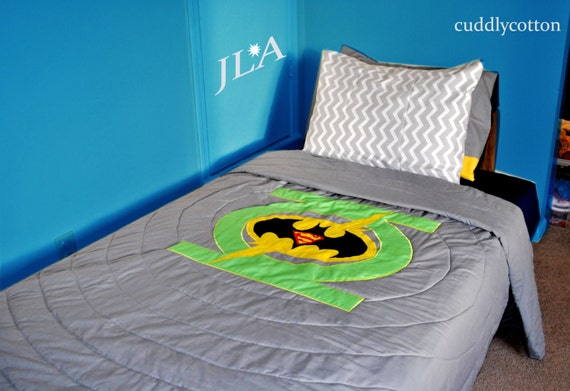 bedding 4 logos included green lantern flash batman superman