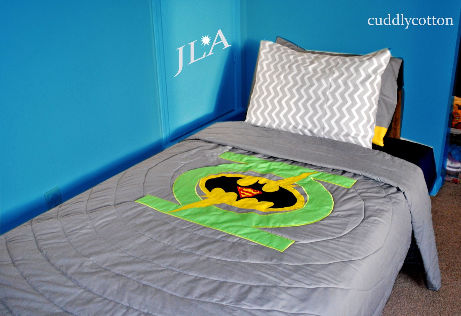 Justice League JLA Twin Bedding 4 logos included by