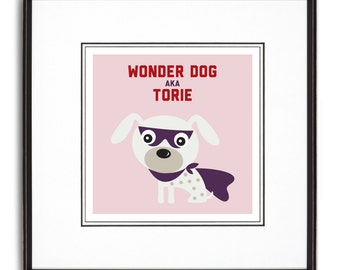 Wonder Dog Personalized Art Print