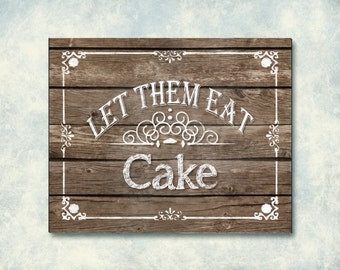 Wooden Printable Wedding Cake Sign - Roseframe Design - Beach or Country - DIY Download and Print