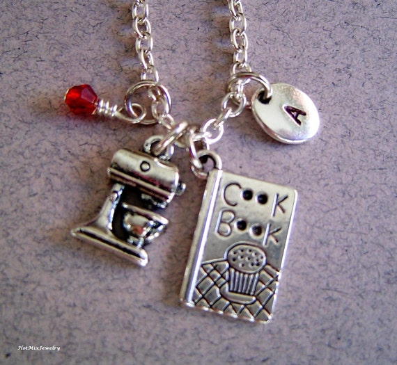 cookbook and kitchen mixer charm necklace personalized