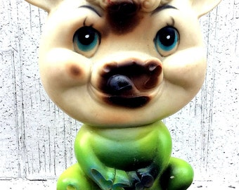 Vintage Antique Estate Green Rubber Cow Squeaky Squeak Toy