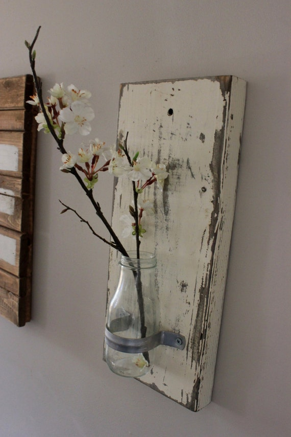 Shabby chic wall vases glass bottle wall vases rustic wall for Shabby chic wall art