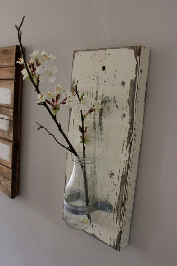 Shabby chic wall vases. Glass bottle wall vases. Rustic wall decor. Shabby  chic