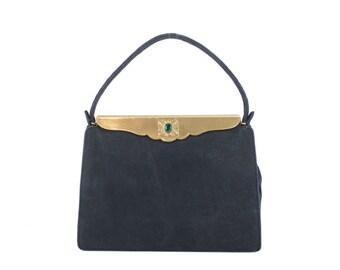Vintage 40s Black Cocktail Bag Handbag Nubuck Leather Purse Jeweled Gold Frame Handbag Womens Party Fashion Accessories 1940s