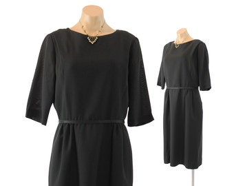 Vintage 60s Little Black Dress LBD Simple Elegant Short Sleeve Dress Women Fall Fashion 1960s Large L Long Sleeve Dress Minimalist Dress