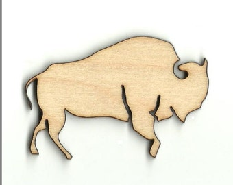 Buffalo - Laser Cut Out Unfinished Wood Shapes Craft Supply ANML62