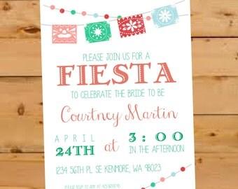 Mexican Bridal Shower Invitation, Fiesta Bridal Shower Invite, Fiesta Bridal Shower Invitation, Mexican Wedding Shower, Mexican Paper Flag