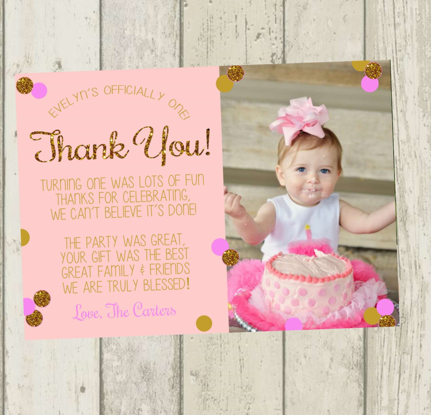 First Birthday Thank You Card Pink Gold Glitter Thank You – Thanks for Birthday Card