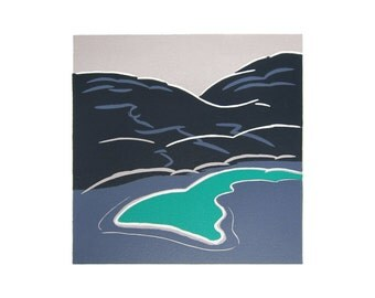 Lanzarote, groene meer, linoprint
