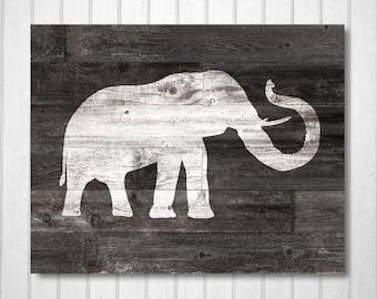 Rustic Elephant Art Print - Faux Wood Print ,Wood Art, Home Decor, Kids/Nursery Art Print,  No,397