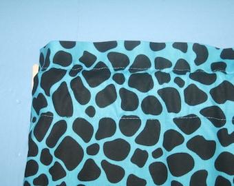 Handmade 100% Cotton  Blue  Black Cheetah  Print Window  Curtain Valance