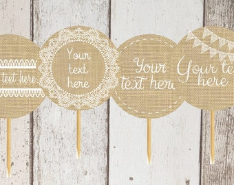 Rustic Burlap and Lace Cupcake Toppers, Party Circles Choose Your Own Text, DIgital Download, Baby Shower, Bridal Shower, Wedding