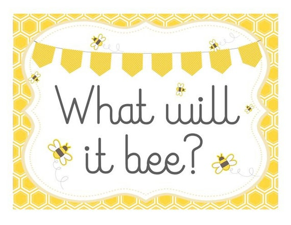 Bumble Bee Baby Shower Printable Sign Frame What Will It Party INSTANT DOWNLOAD Pdf