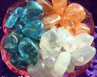 Angel Aura Quartz, Aqua Aura Quartz, Tangerine Aura Quartz, Tumbled, YOU choose which kind!