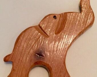 Elephant Necklace / Hand-carved Wood Elephant Necklace
