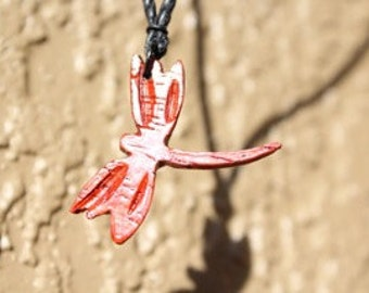 Dragonfly Necklace / Hand-carved Wood Dragonfly Necklace