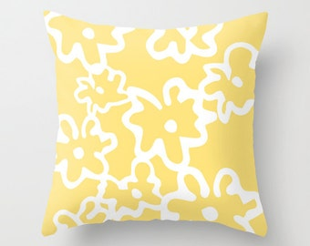 Flowers Pillow Cover - Yellow and White - Modern Floral Accent Pillow - Abstract Flower Decorative Pillow - By Aldari Home