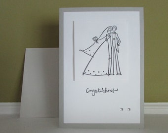 Wedding card-Bride & Groom card,Greeting cards with sentiment,modern grey wedding card,coral cards,stamped cards,handmade/homemade cards