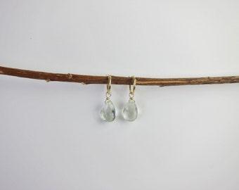 Green Amethyst 14K Gold Handmade Earrings