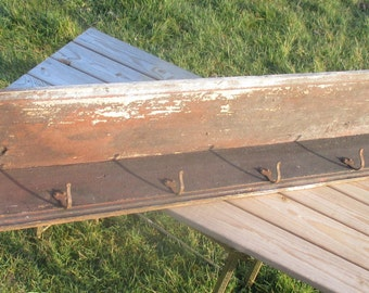 Antique Barn Rustic coat Rack Authentic 7 Hooks Charming Weather worn Primitive