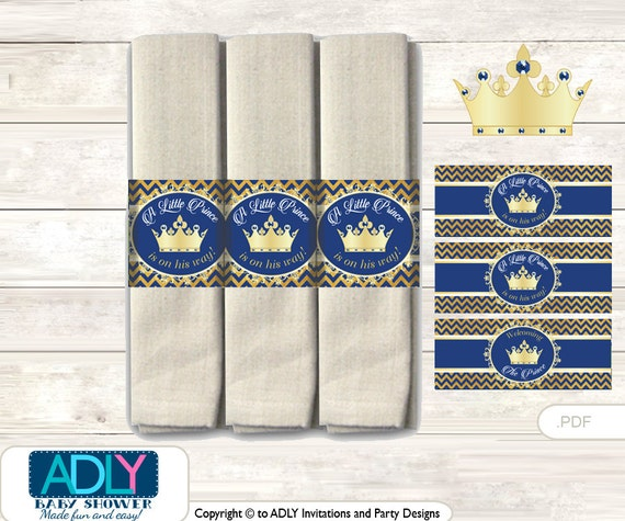 Crown Prince Napkin Ring Label Printable For Baby Prince