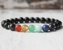 Ground Chakra Bracelet, Black Tourmaline Bracelet, Yoga Bracelet Energy Stone Healing Jewelry